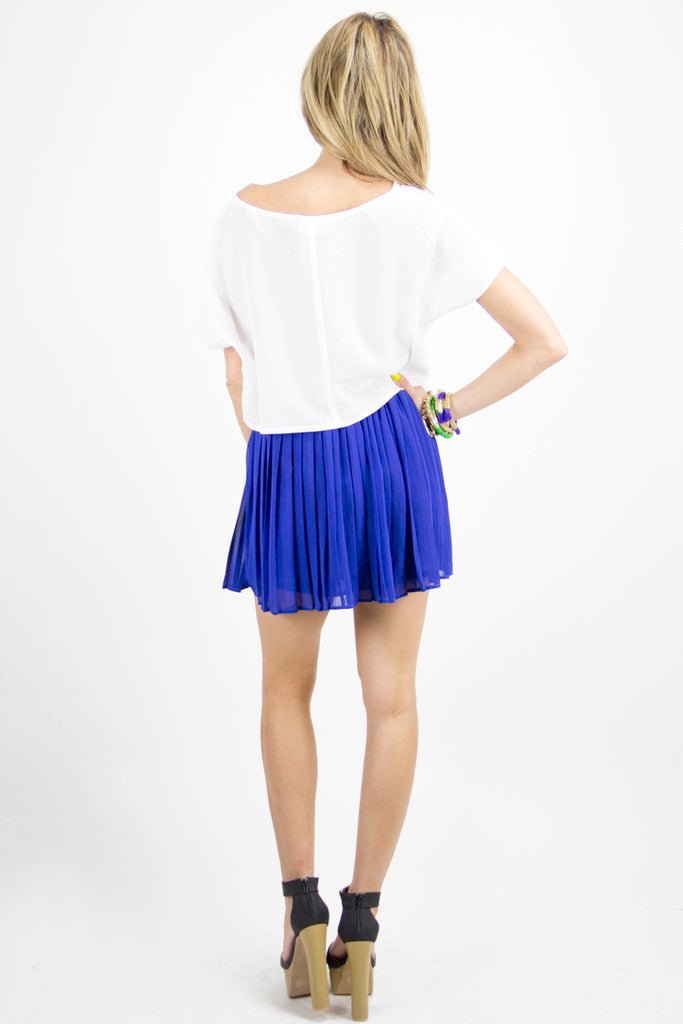 TWO-TONE PLEATED SKIRT - Blue/Green