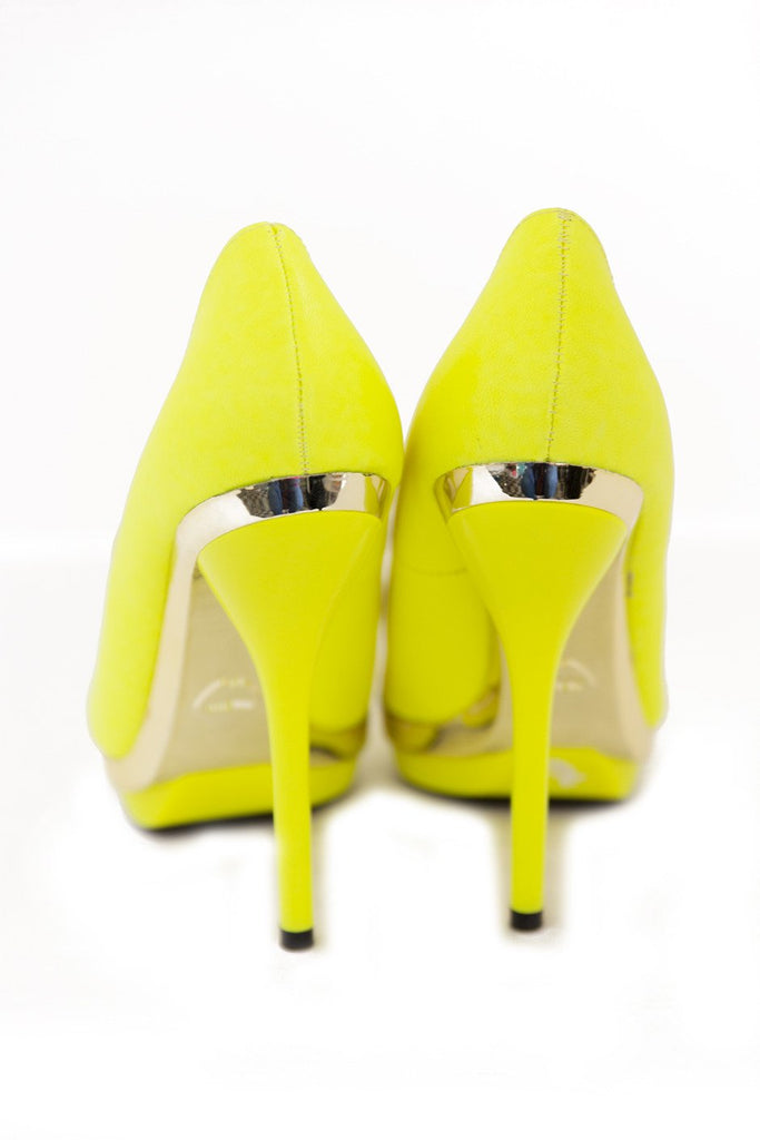 NELLE PLATED PUMP - Neon Lime