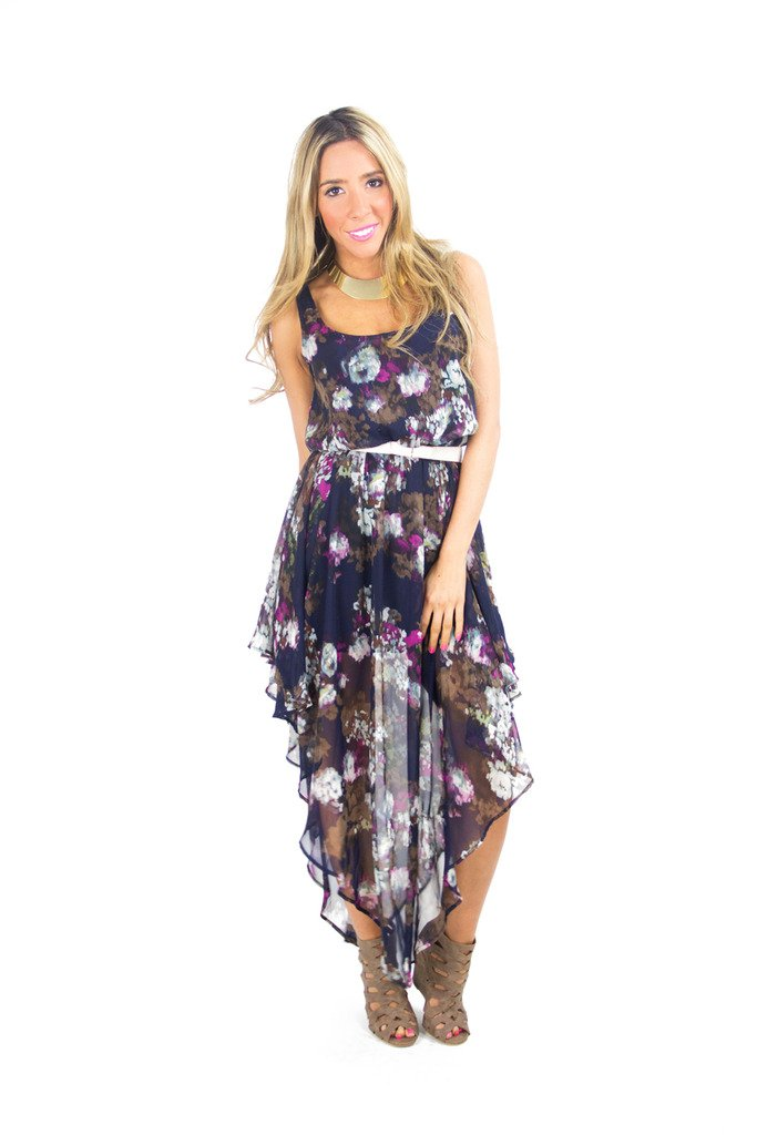 FLOWER CHIFFON TAPER DRESS