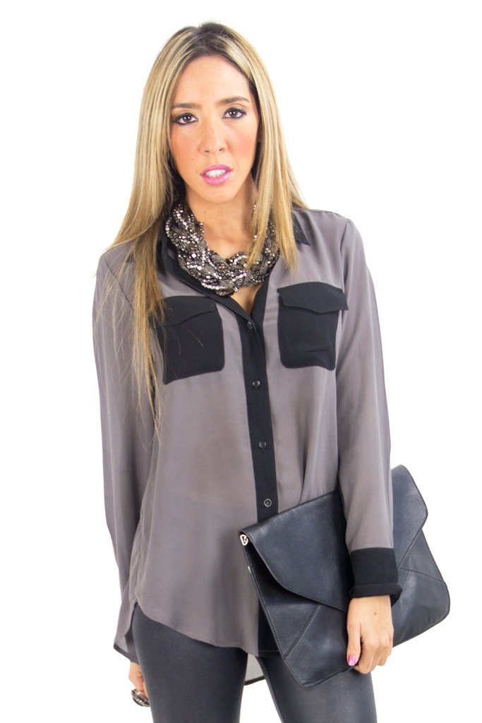 GRAY & BLACK CONTRAST CHIFFON BLOUSE