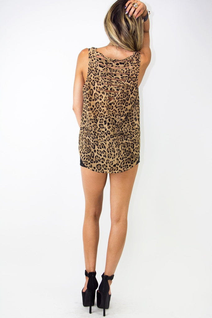 LEOPARD CHIFFON TOP WITH BACK CUTOUTS
