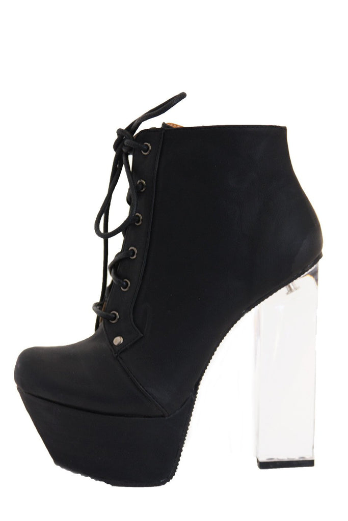 CLEAR HEEL BOOT - Black - Haute & Rebellious