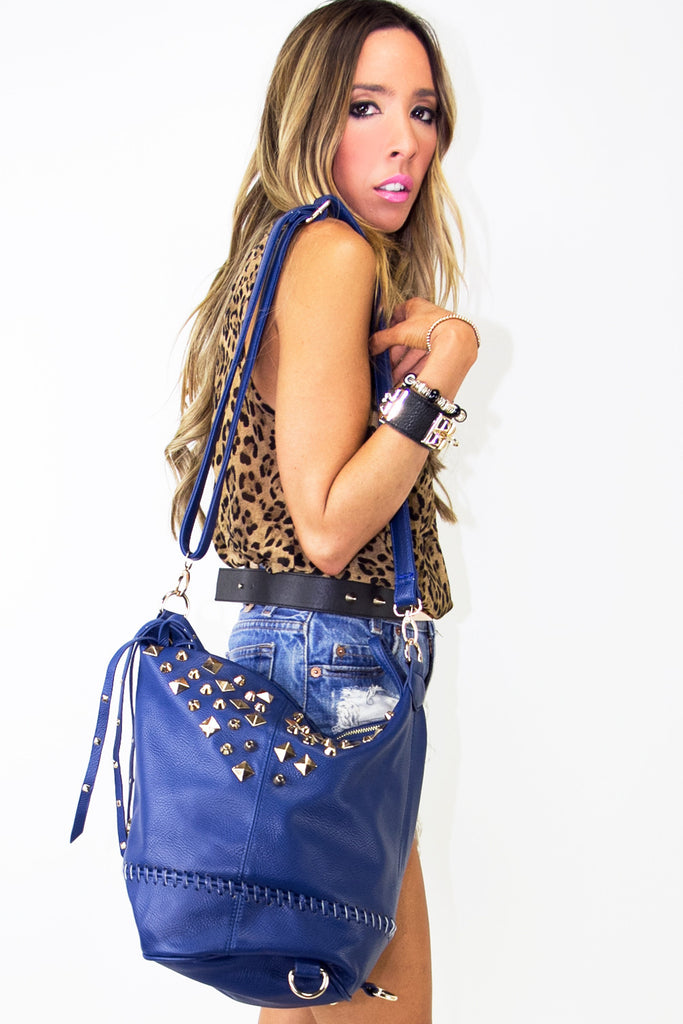 STUDDED SHOULDER BAG - Deep Blue