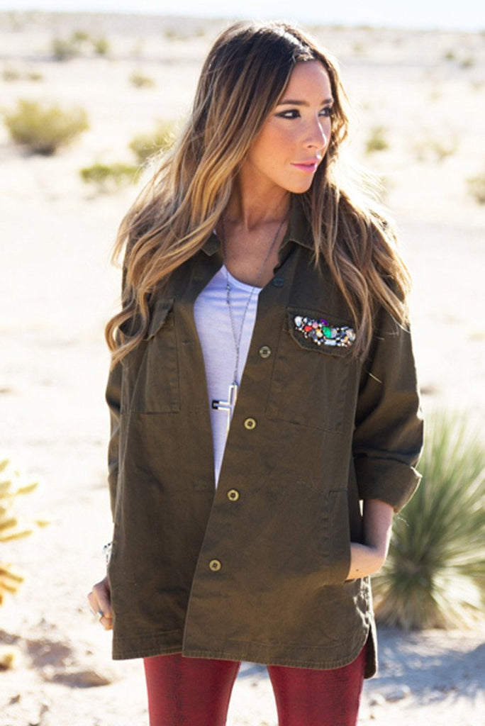FURY ARMY JACKET WITH TRIBAL PATCHES - Haute & Rebellious