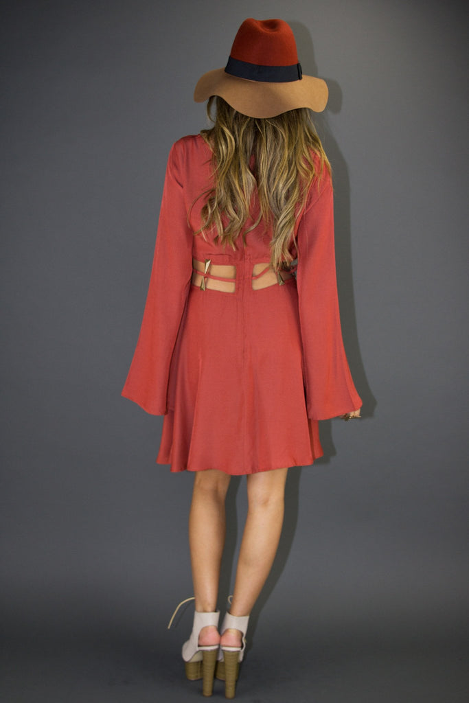 BERNICE CUTOUT BELL SLEEVE DRESS