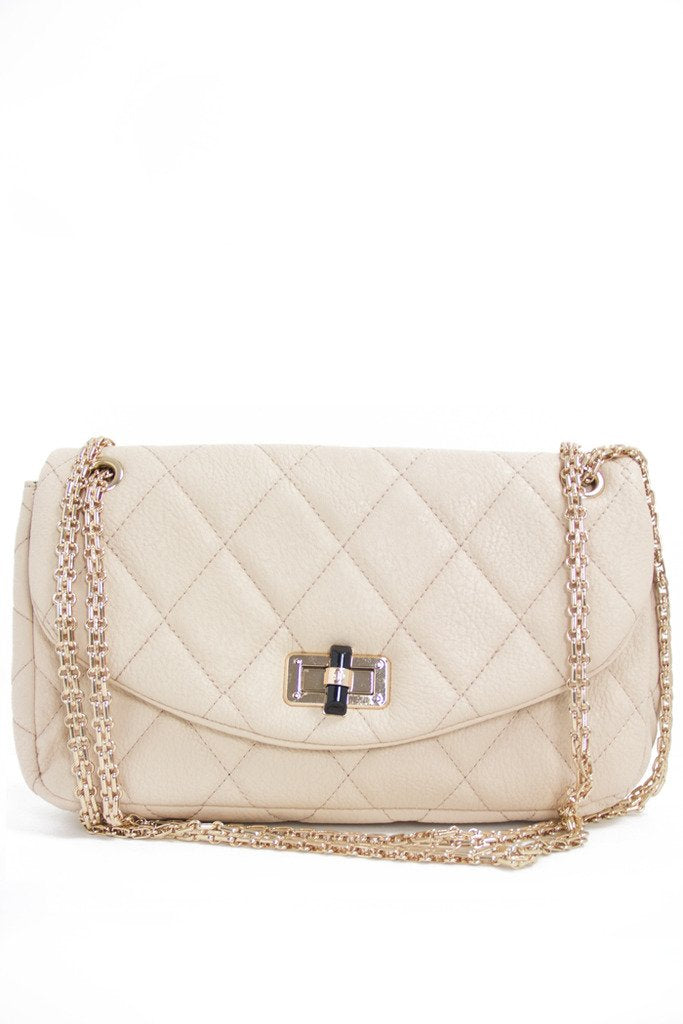 DOUBLE FLAP QUILTED IVORY BAG - Haute & Rebellious