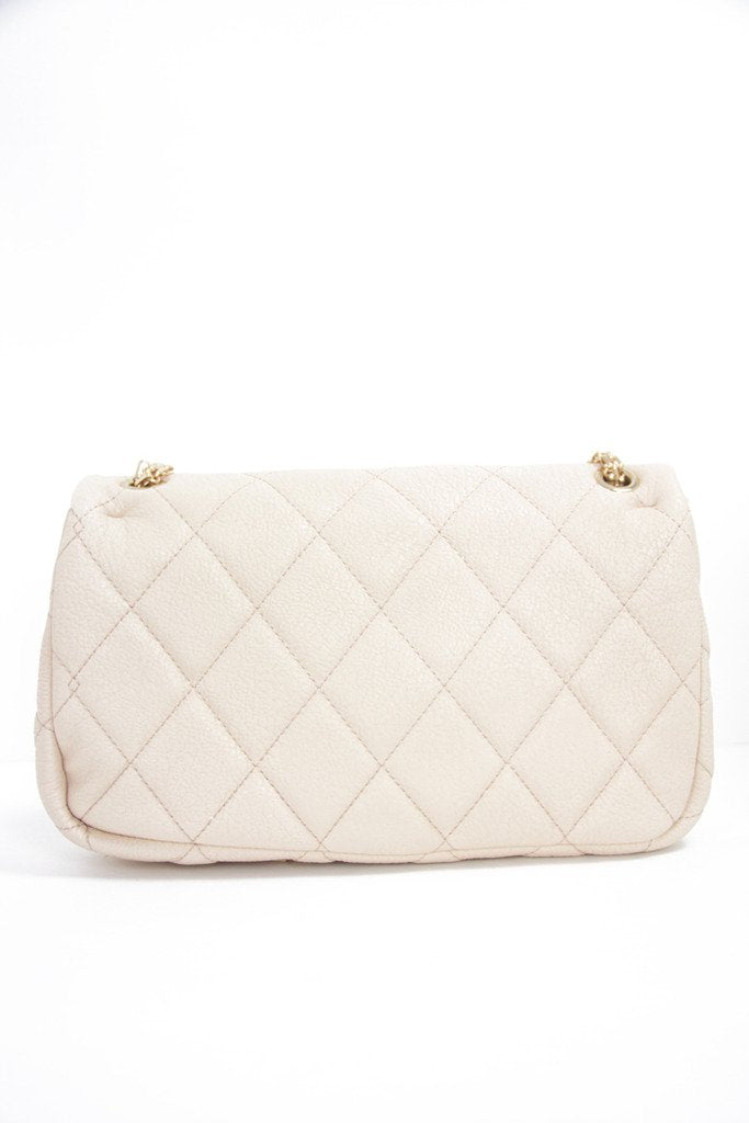 DOUBLE FLAP QUILTED IVORY BAG