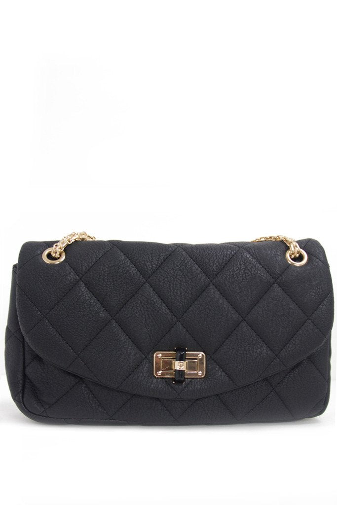 DOUBLE FLAP QUILTED BLACK BAG