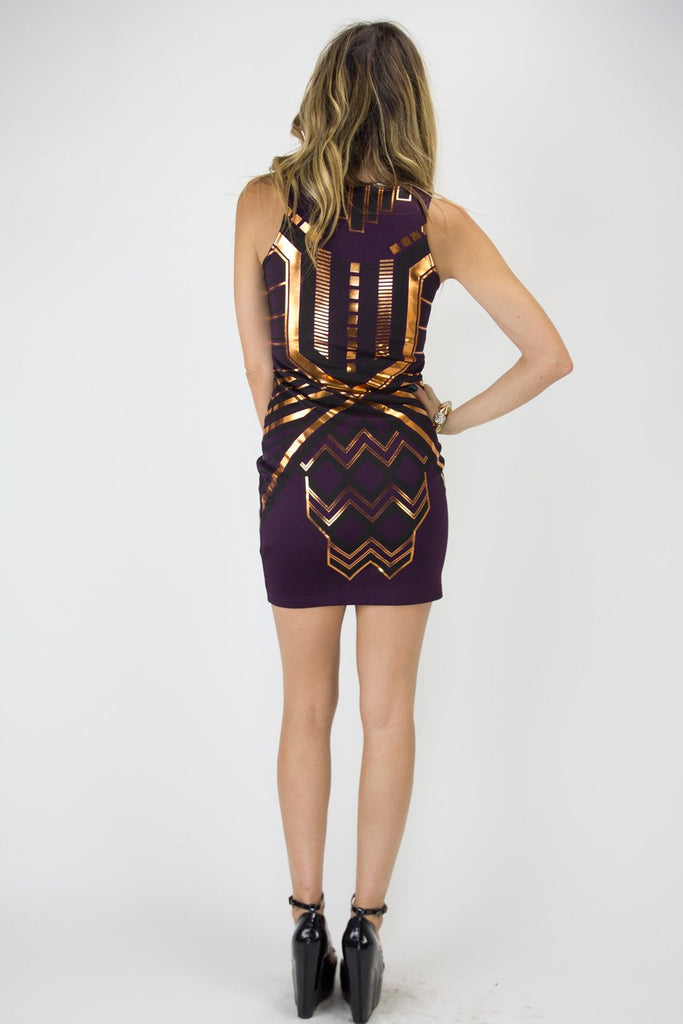 METALLIC TRIBAL PRINT DRESS - Purple (Final Sale)