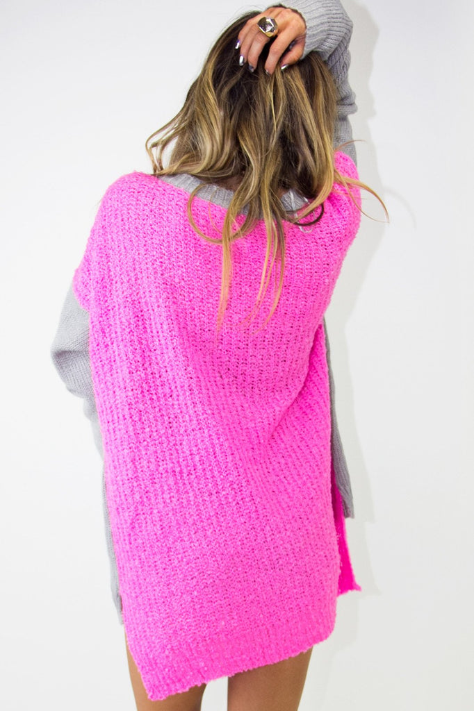 NEON CONTRAST SWEATER - Pink / Grey