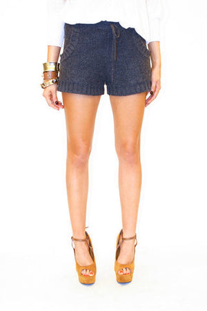 WOOL KNIT DRAWSTRING BOOTIE SHORTS - Haute & Rebellious