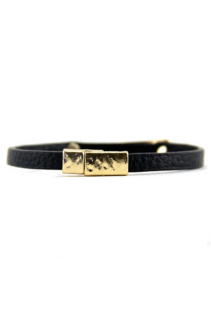 LEATHER PETITE GOLD PLATED BRACELET - Black/Gold