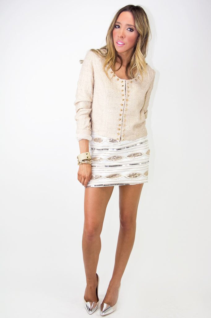 STUDDED TWEED JACKET - Beige