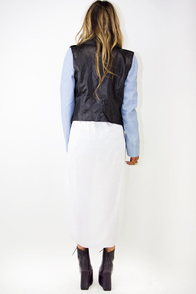 CONTRAST LEATHER JACKET - Black/Blue
