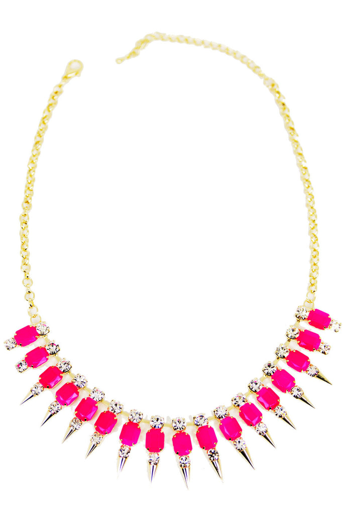 SPIKE CRYSTAL NECKLACE - Neon Pink/Gold