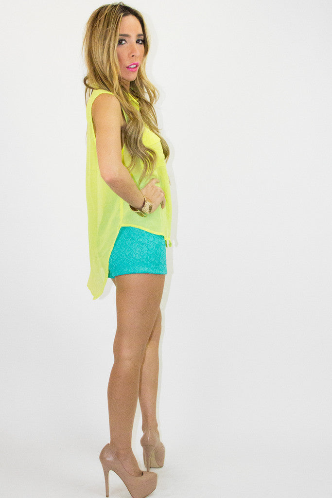 SLEEVELESS TWO POCKET TOP - Neon Lemon - Haute & Rebellious