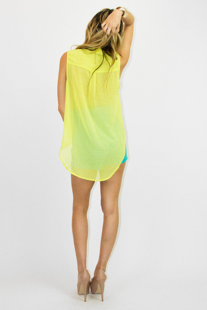 SLEEVELESS TWO POCKET TOP - Neon Lemon