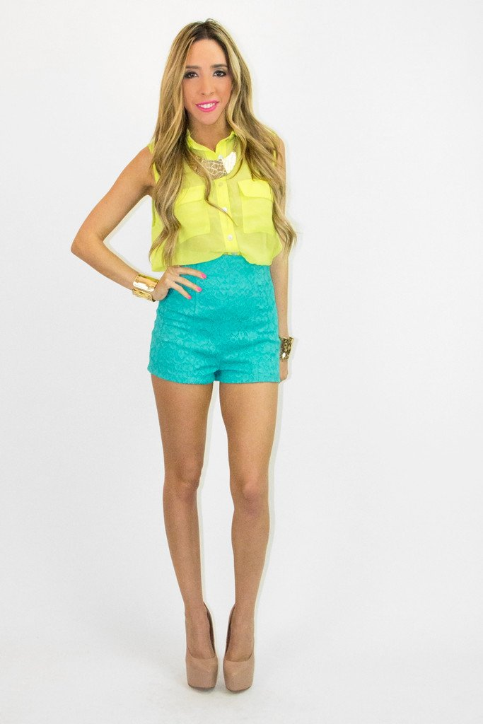HIGH WAISTED LACE SHORTS  -  Dark Turquoise