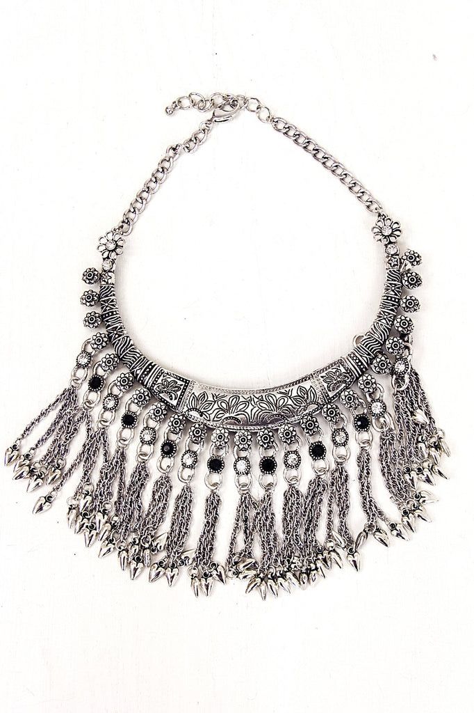 Jadah Silver Boho Statement Necklace