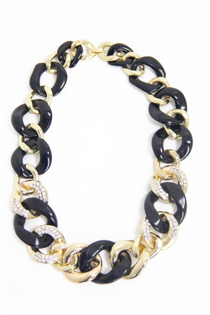 GOLD & BLACK CHAIN NECKLACE - Haute & Rebellious