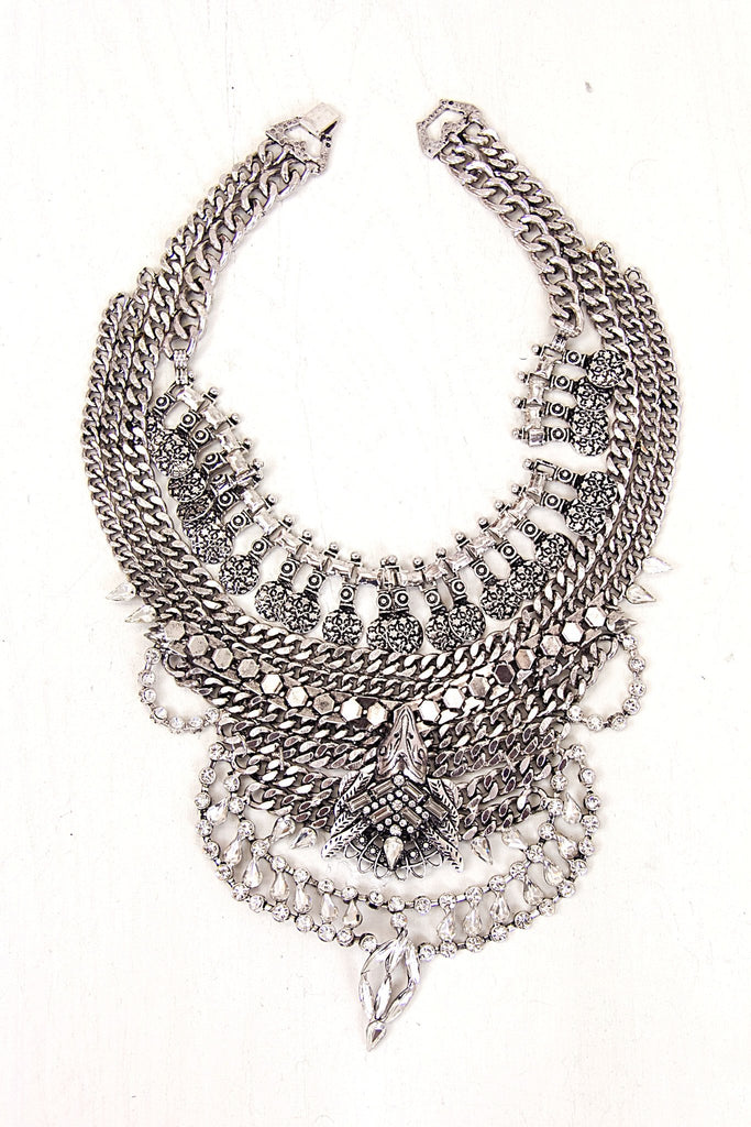 Leeyha Layered Statement Necklace - Silver