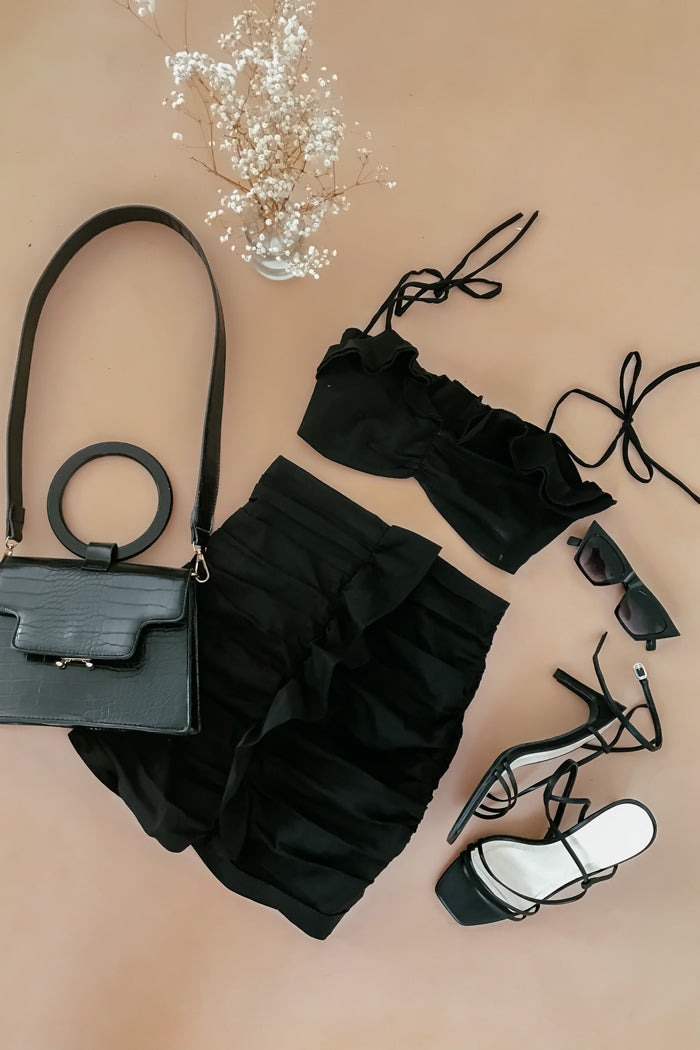Ruffle Crop Top & Skirt Set