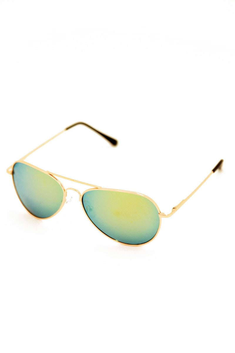 METALLIC TINT LENS AVIATOR - Gold Frame - Haute & Rebellious
