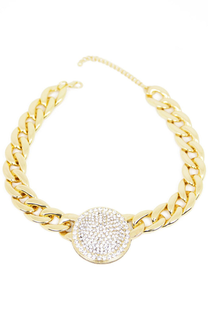 CRYSTAL PENDANT CHAIN LINK NECKLACE - Gold
