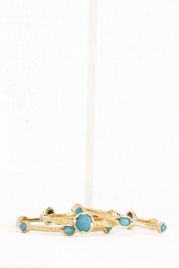 Bella Turq Stone Bangle Set - Gold - Haute & Rebellious