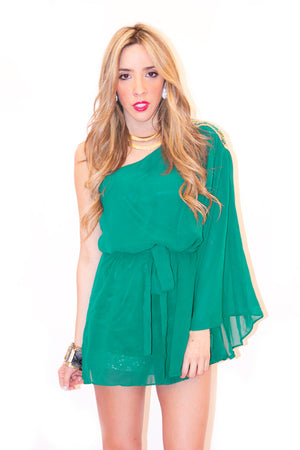 ONE SHOULDER GODDESS TUNIC - Forrest Green - Haute & Rebellious