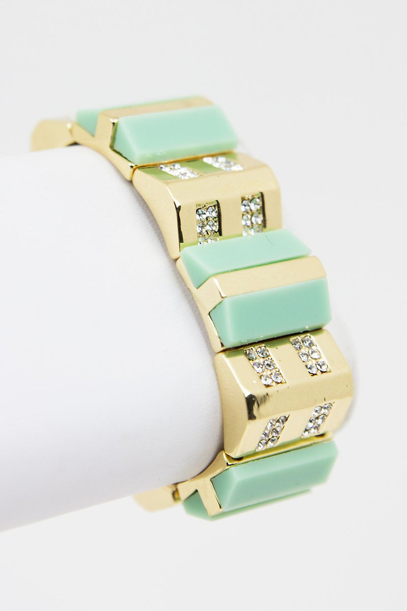 GEM & STONE COLOR BRACELET - Mint - Haute & Rebellious