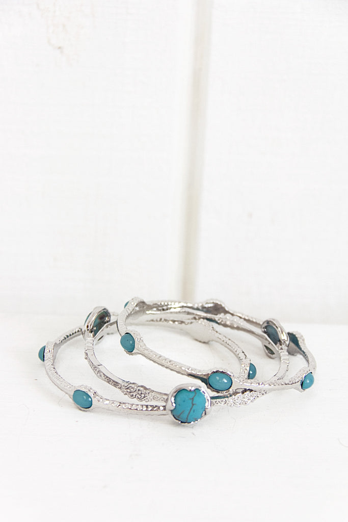 Bella Turq Stone Bangle Set - Silver