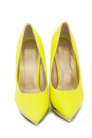 NELLE PLATED PUMP - Neon Lime - Haute & Rebellious