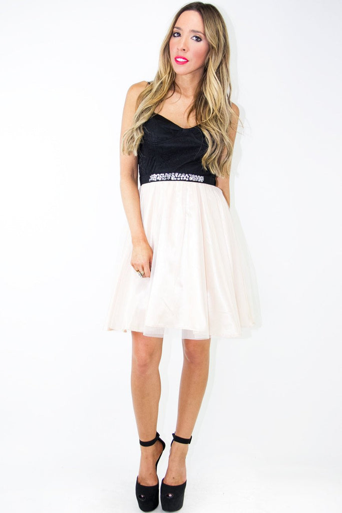 EMMAN TULLE DRESS - Beige/Black (Final Sale)