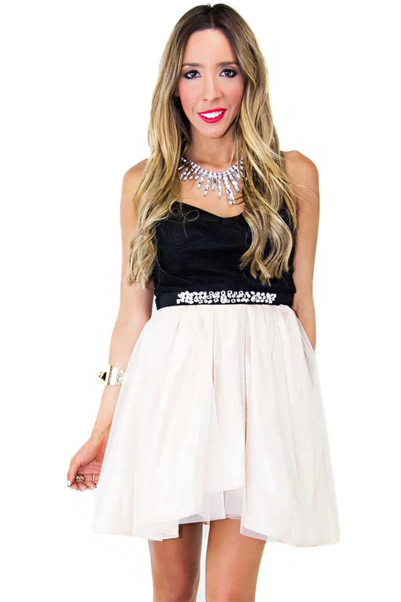 EMMAN TULLE DRESS - Beige/Black (Final Sale) - Haute & Rebellious