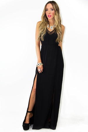 DOUBLE SLIT DRESS WITH LACE AND CUTOUTS - Black - Haute & Rebellious