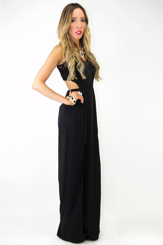 DOUBLE SLIT DRESS WITH LACE AND CUTOUTS - Black