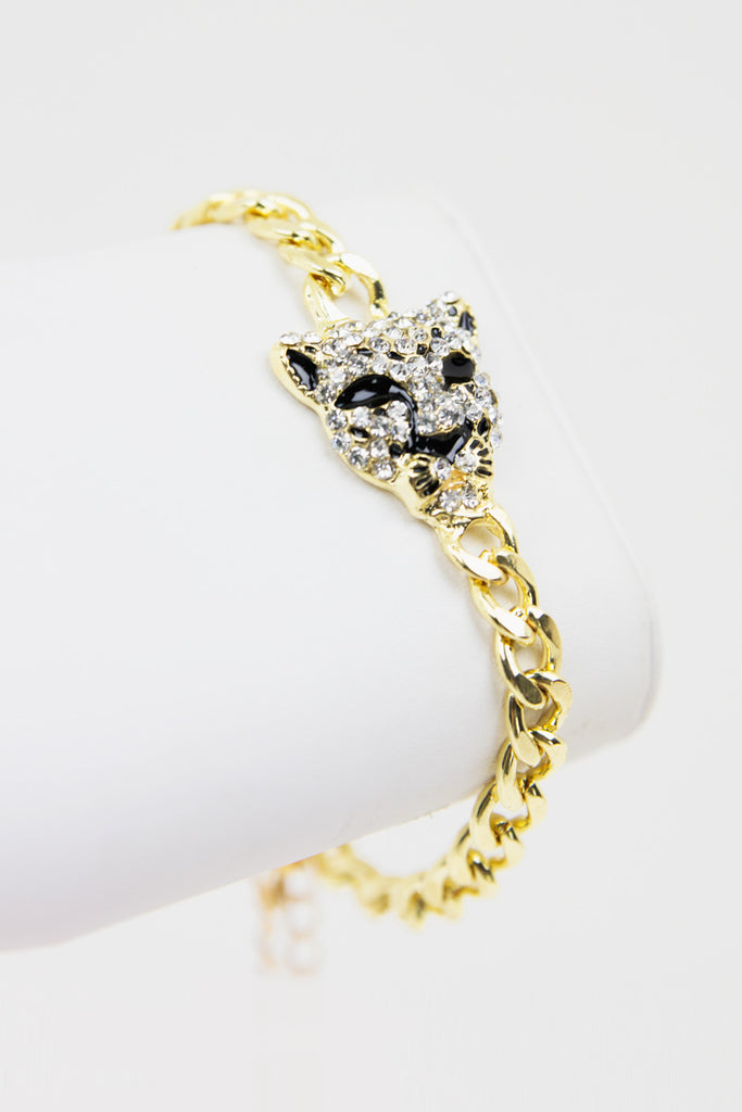 PETITE CHAIN CHEETAH CRYSTAL BRACELET - Gold