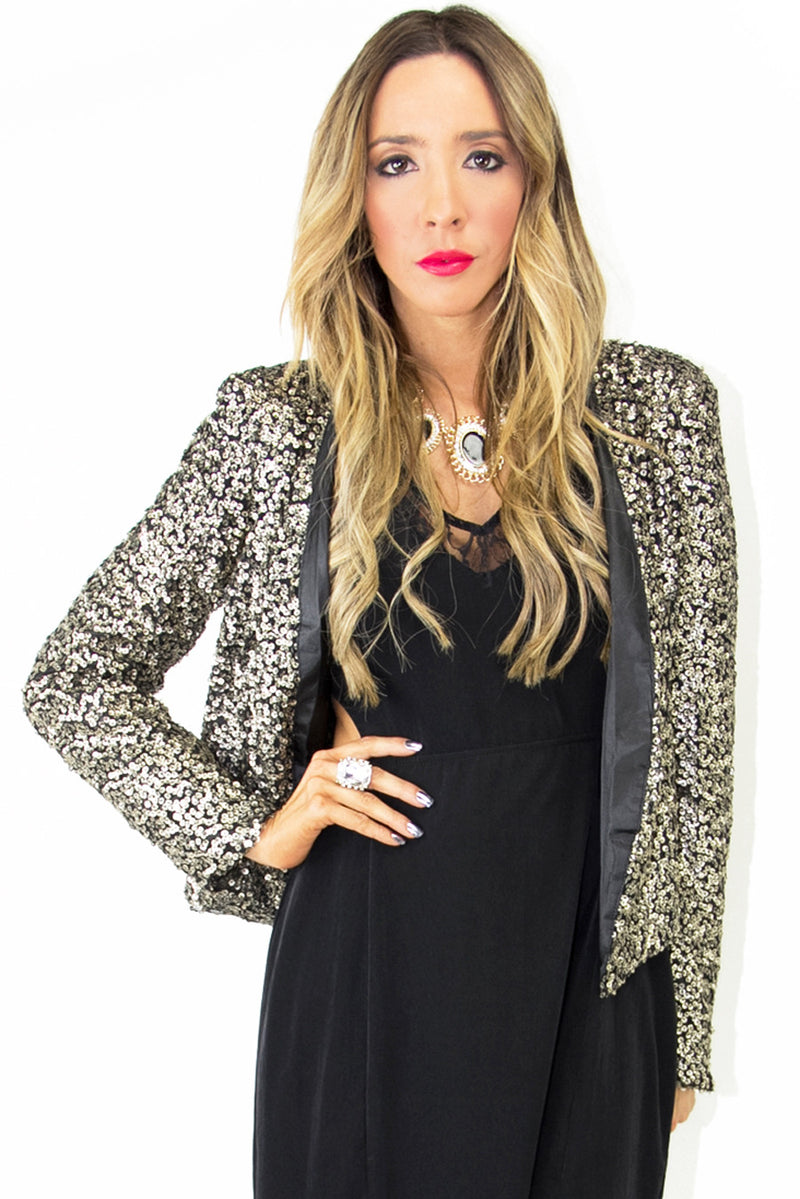 SEQUIN CARDIGAN - Vintage Gold/Black - Haute & Rebellious
