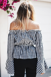 Picnic Vibes Off-Shoulder Bell-Sleeve Top - Black