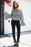 Picnic Vibes Off-Shoulder Bell-Sleeve Top - Black - Haute & Rebellious