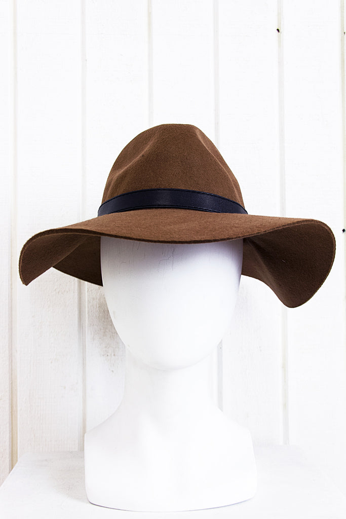 Rayla Buckle Wool Floppy Hat - Brown