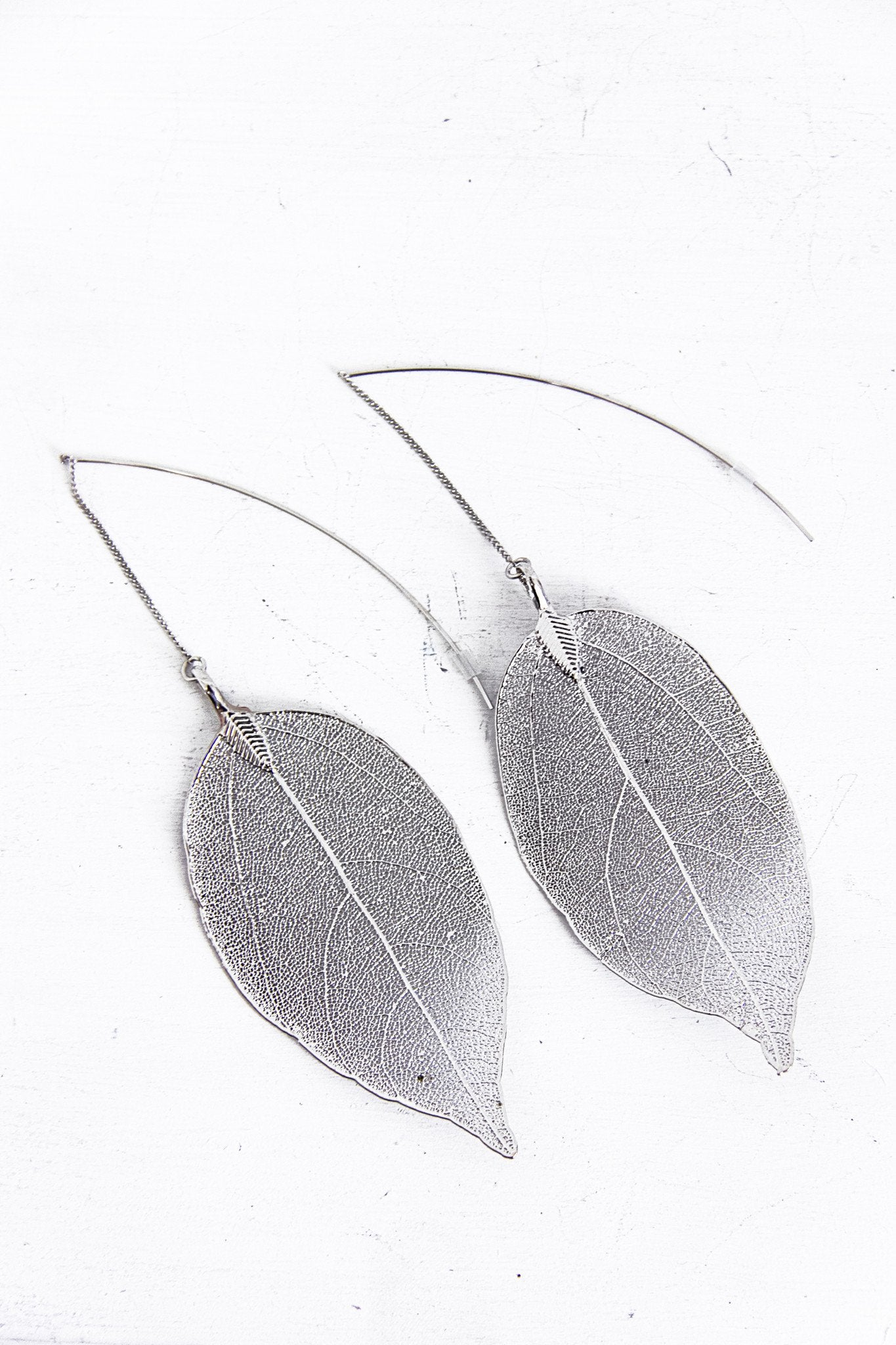 Metallic Dipped Leaf Earring - Silver - Haute & Rebellious