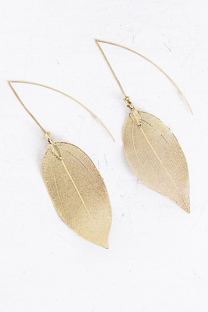 Metallic Dipped Leaf Earring - Gold - Haute & Rebellious