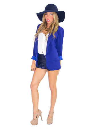BLUE SEQUIN SHORTS - Haute & Rebellious