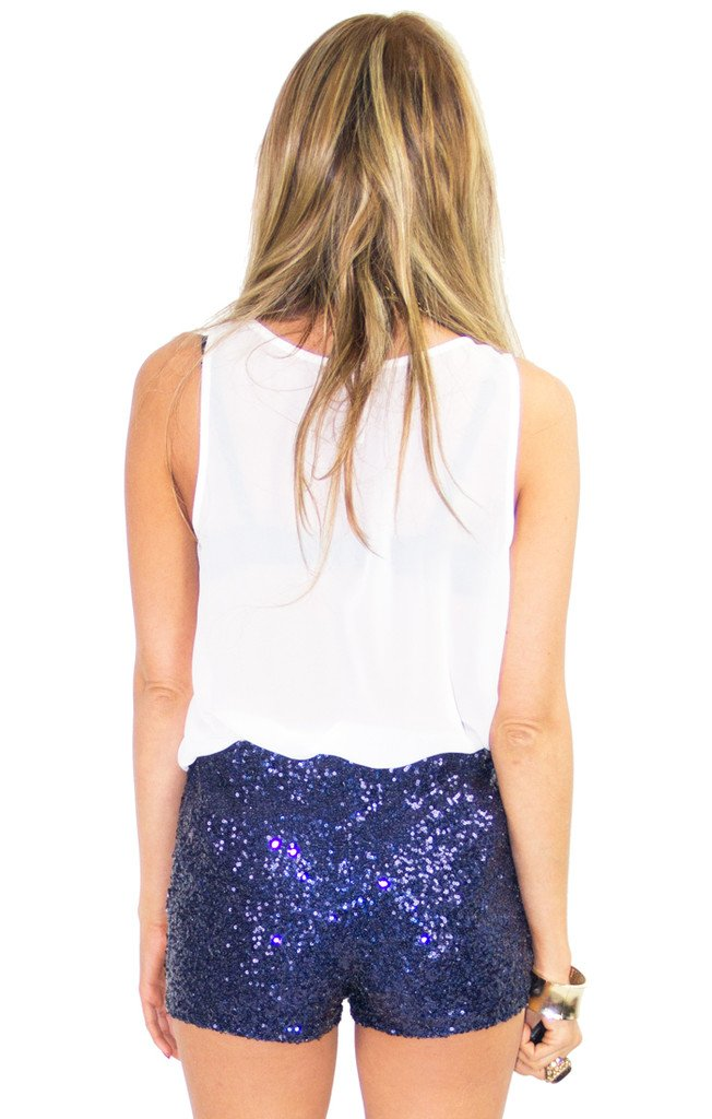 BLUE SEQUIN SHORTS
