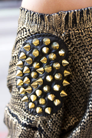 METALLIC SWEATER WITH SPIKED SHOULDERS - Haute & Rebellious