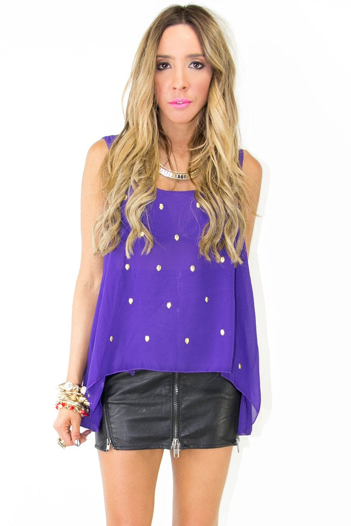 CHIFFON BLOUSE WITH GOLD SKULLS - Purple - Haute & Rebellious