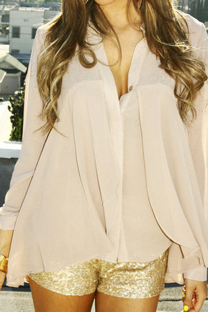Haute & Rebellious RUFFLE CHIFFON BLOUSE - Beige in [option2]