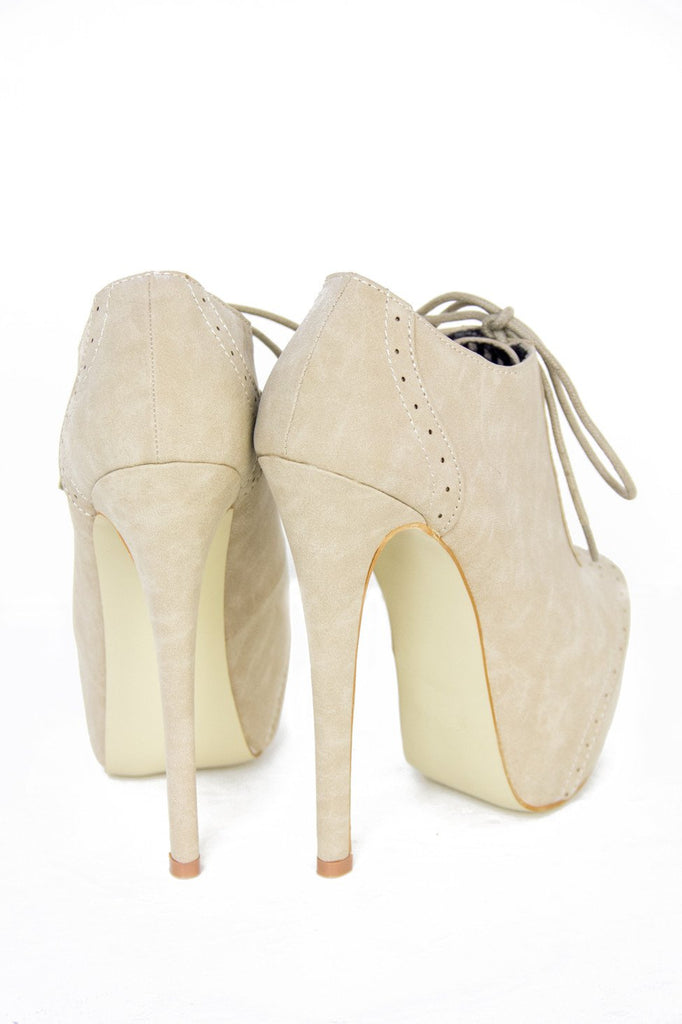 ANKLE HIGH HEEL BOOT - Beige